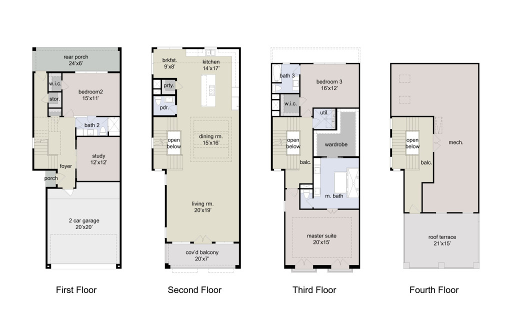 Rendering - Floor Plans 5418 and 5420 Mirror Images